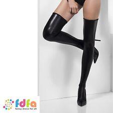 BLACK WET LOOK OPAQUE HOLD UPS STOCKINGS ladies accessory womens hosiery