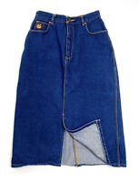 Vintage Gloria Vanderbilt Midi Denim Skirt Straight Front Slit Cotton Women's