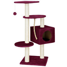 [en.casa]® Rascador gatos árbol escalador granate de sisal para arañar talla L