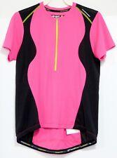 Nishiki Hot Pink Black Mesh Bicycle Cycling Shirt 1/2 Zip Jersey Adult Women's M