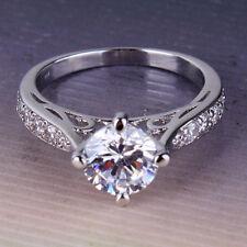 Eternity Promising SWEET 18k white gold filled Swarovski crystal ring Sz5-Sz9