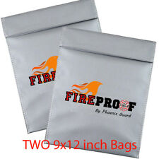 LOT OF TWO 9x12 Fire proof pouch Document Money safe bag Fire Water Resistant