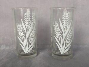 VINTAGE Glassware Set of 2 VINTAGE Glasses Wheat Design 1940s Drinking Glasses