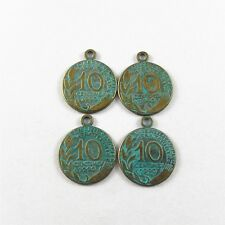 20pcs Antiqued Bronze Alloy Coins Charms Pendant Necklace Craft Jewelry Findings