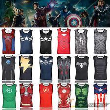 Mens Superhero Sleeveless T-shirt Vest Tank Tops Under Jersey Gym Sports Fitness