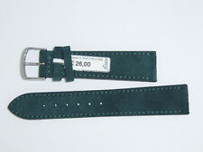 """FLUCO (Germany) Suede Leather Watch Band Strap 20 mm Forest Green """"Velour"""""""