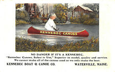 Waterville ME Kennebec Canoes Boat & Canoe Co. Curt Teich Linen Postcard