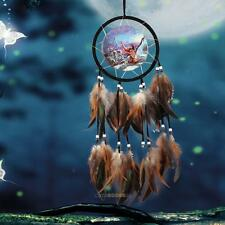 Oil Painting Totem Handmade Dream Catcher Feather Hanging Decor Ornament-Wolf #