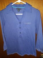 Tommy Hilifiger Womens Blouse Medium Purple Long Sleeve Collared Shirt Top