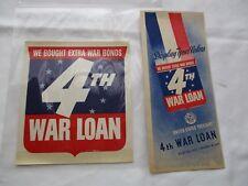 1943 *ORIGINAL * We Bought Extra War Bonds 4th War Loan Brochure & Decal * mint