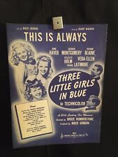 Three Little Girls In Blue Movie Piano Sheet Music Book (Poster) June Haver
