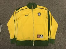 Vintage 1998 Brazil Cbf Nike Jacket Medium M Track Warm Up Yellow Green Ronaldo