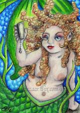 ACEO Original Art Mermaid Woman Sea Ocean Phone Selfie Fantasy Drawing SMcNeill