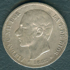 1882 Spain ALFONSO XII 5 pesetas Crown Size Silver Coin #1