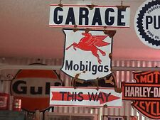 Antique style-porcelain look Mobilgas oil service station gas pump sign set Nice