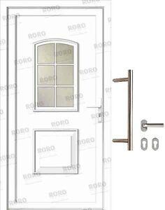 Haustür Kunststoff Roro Tür inkl Zylinder und Stoßgriff-Set