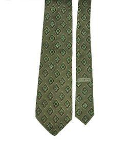 Giorgio Armani Cravatte Vintage Geometric Print Lightweight Olive Green Silk Tie
