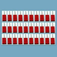 30 Lot Lego 3020 Red brick plate Zipper Pull Charm Book Bag School Bag Backpack