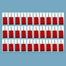 30 Lot Lego 3020 Red brick plate Zipper Pull Charm Book Bag School Bag Backpack