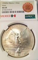 1996 MEXICO SILVER LIBERTAD 1 ONZA NGC MS 68 HIGH GRADE SCARCE DATE !!!