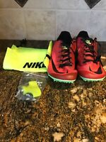 New Mens Nike Zoom 400 Red Black Volt Track Cleats Spikes Sz 10 AA1205 663