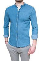 Camicia di Jeans uomo slim fit blu denim in cotone con colletto alla coreana