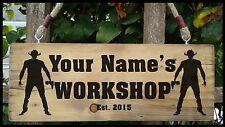 PERSONALISED NAME Workshop Shed Garage studio Door Sign Plaque Wood Fun Gift New