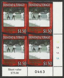 TRINIDAD & TOBAGO 2011 Dr Eric Williams CRICKET lower right CNR BLOCK MNH #0463