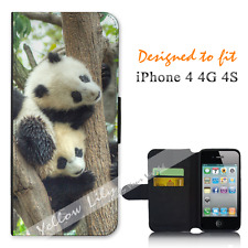 Apple iPhone 4 4G 4S Wallet Flip Phone Case Cover Panda Tree Y00885