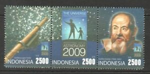INDONESIA 2009 INTERNATIONAL YEAR OF ASTRONOMY STRIP COMP. SET OF 3 STAMPS MINT
