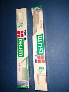 Vintage Butler Gum Toothbrushes In Box Ultra Soft Retro Dental Slender Head