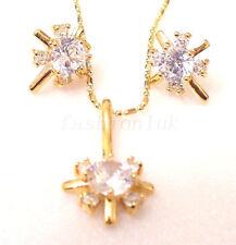 Women Girl 18K Yellow Gold Plated CZ Cubic Zirconia Stud Earrings Necklace Set