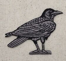 Iron On Embroidered Applique Patch Bird/Crow Black/Gray RAVEN Facing RIGHT