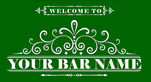 Personalised Bar Runner Welcome To Pub Lager Beer Label Bar Club Cocktail Mat