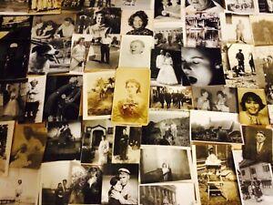 100 Wonderful Photos Lot BW Vintage Photographs Snapshots antique black white