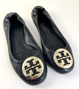 Tory Burch Reva Black Ballet Flats Gold Logo Matte Leather Womens 5 US