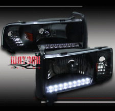 94-01 DODGE RAM LED STRIP CRYSTAL BLACK HEAD LIGHTS+CORNER SIGNAL 1500 2500 3500