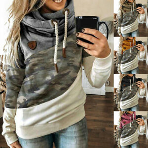 Womens Camo High Neck Hoodies Ladies Hooded Sweatshirt Jumper Pullover Tops