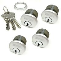"4 New Mortise Lock Cylinders 1"" for Store Front Door Adams Rite Brass and 3 Keys"