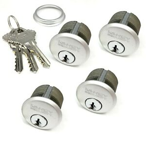 """4 New Mortise Lock Cylinders 1"""" for Store Front Door Adams Rite Brass and 3 Keys"""