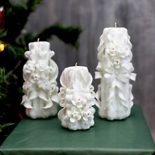 White carved cadnle with white flowers - wedding candle - unity candle white
