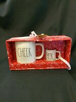 Rae Dunn By Magenta Cheer Mug And Mini Mug Ornament Ceramic GIFT SET New