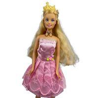 Vintage Barbie Fashion Doll Mattel 90's Blonde Crown Pink Gown