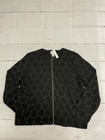 NWT Chicos Women Bomber Jacket Black Beaded Lined MSRP 139.00 Size 1