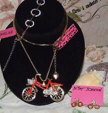 3PC BETSEY JOHNSON HUGE CRYSTAL RED ENAMEL BICYCLE & MATCH EARRINGS & BRACELET