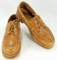 HyTest Mens Steel Toe Safety Work Shoes Boat Leather Oxford Derby Sz 8.5 B