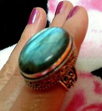 BIG RING HANDMADE . SIZE 8 LABRADORITE . NATURAL STONE..ANTIQUE SILVER DESIGN
