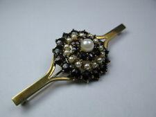 Große Granat / Perlen Brosche 333 / 8K Gold - Stabbrosche 7,2 cm / 10,6 Gramm