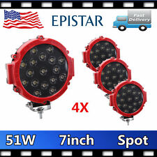 """4X 51W 7"""" Round LED Work Light Spot Beam Driving Lamp Car Offroad ATV 12V24V RED"""