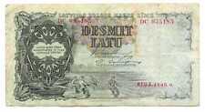 Latvia Latvian Government State Treas Note 10 Latu 1940 VF